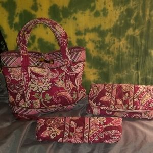 Vera Bradley Piccadilly Plum 3pc Bundle Retired